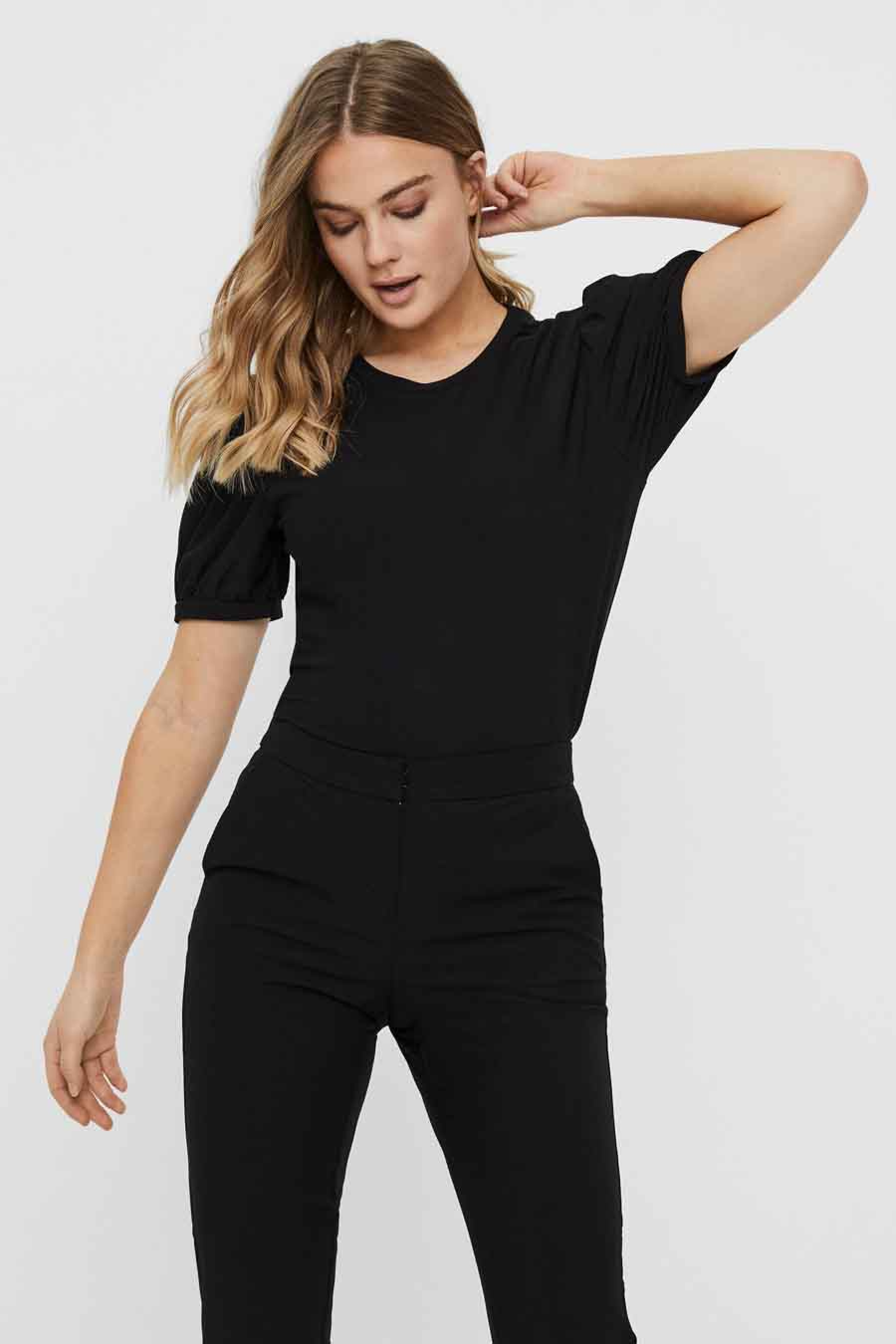 Vero Moda Blouse korte mouwen, Zwart, Dames, Maat: XL