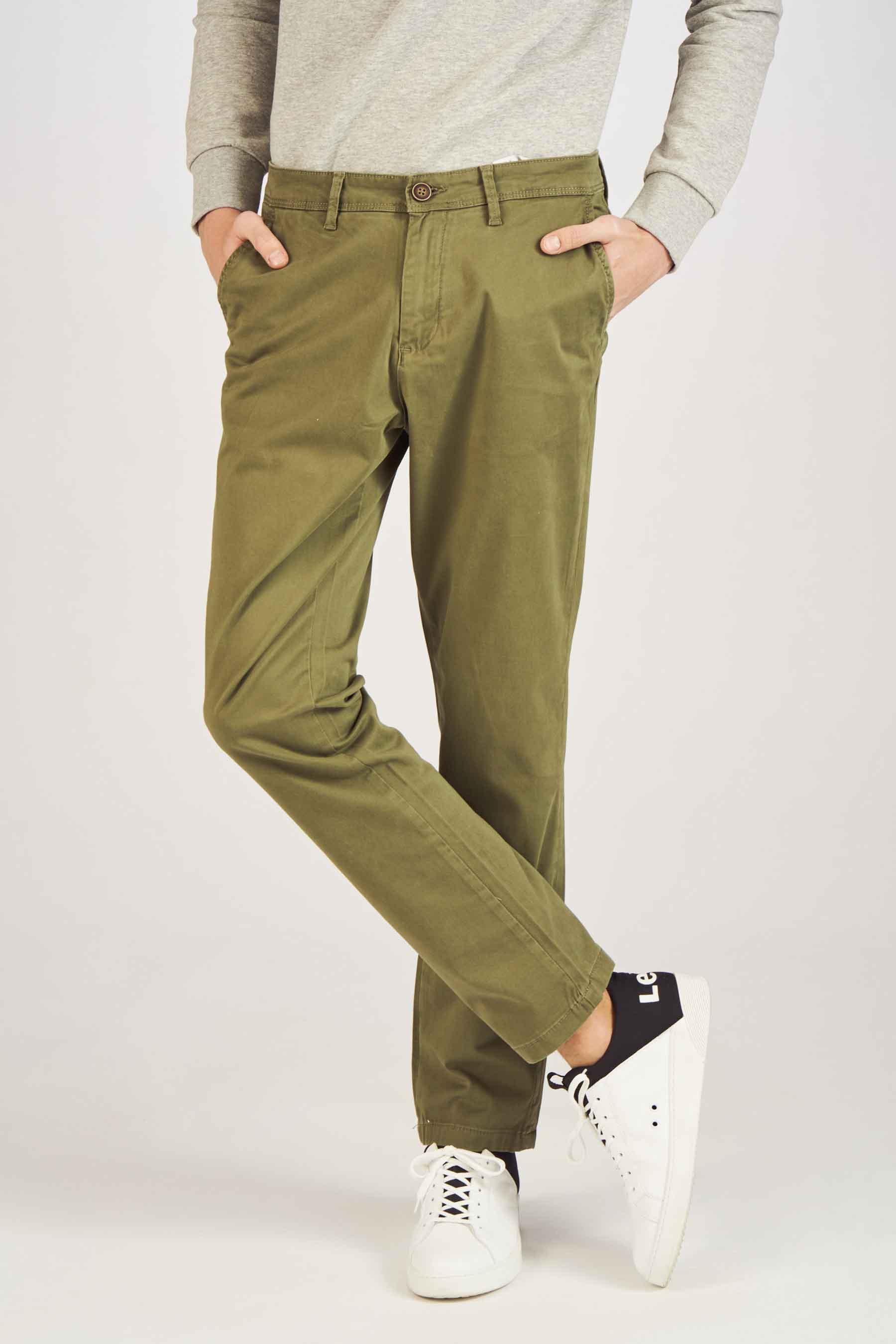 Jack & Jones Jeans Intelligenc Chino, Olive, Heren, Maat: 27x32/28x32/28x34/29x3