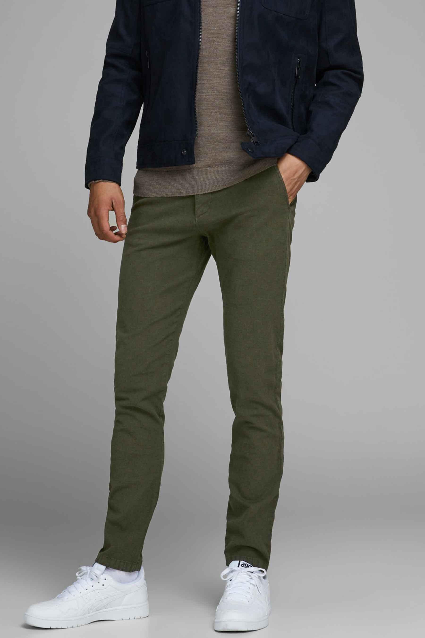 Jack & Jones Jeans Intelligenc Colorbroek, Olive, Heren, Maat: 28x34/29x34/34x34