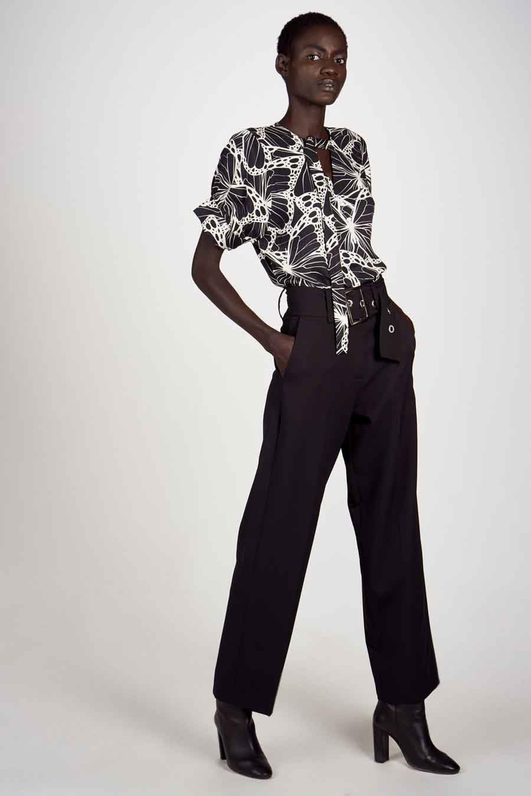 Astrid Black Label Blouse korte mouwen, Multicolor, Dames, Maat: L/M/S/XS