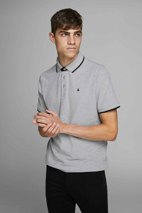 PREMIUM BY JACK & JONES Polos gris 12136668_LIGHT GREY MELA img7