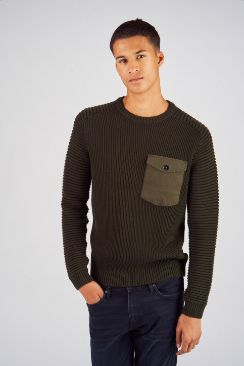 CORE BY JACK & JONES Truien met ronde hals groen 12140246_ROSIN img1