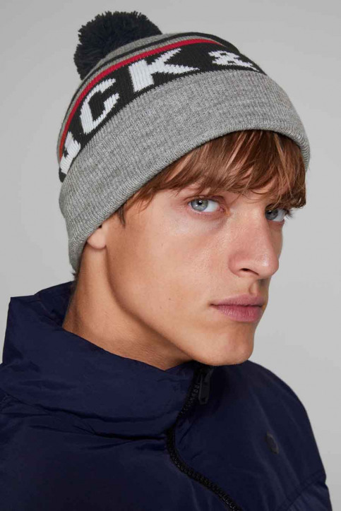 ACCESSORIES BY JACK & JONES Bonnets gris 12140483_LIGHT GREY MELA img1