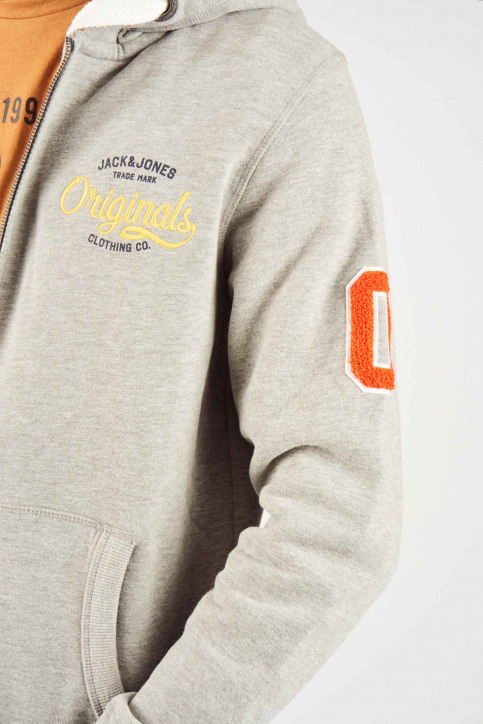 ORIGINALS BY JACK & JONES Sweats avec capuchon gris 12141244_LIGHT GREY MELA img4