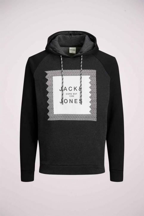 JACK & JONES Sweats avec capuchon noir 12184428_BLACK DET MEL img7
