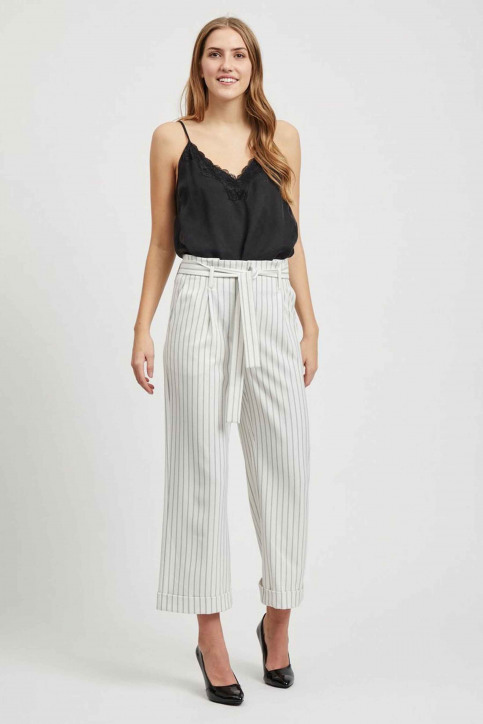 VILA Pantalons colorés blanc 14050442_CLOUD DANCER img2