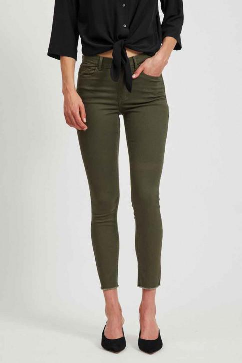 VILA Pantalons colorés vert 14058626_FOREST NIGHT img2