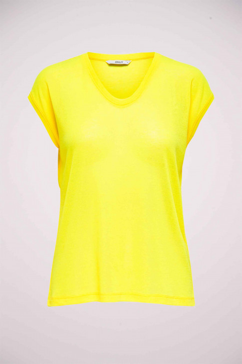 ONLY Tops uni manche courte jaune 15136069_NEON YELLOW img1