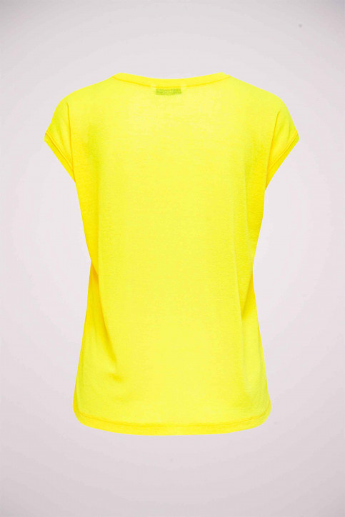 ONLY Tops uni manche courte jaune 15136069_NEON YELLOW img2