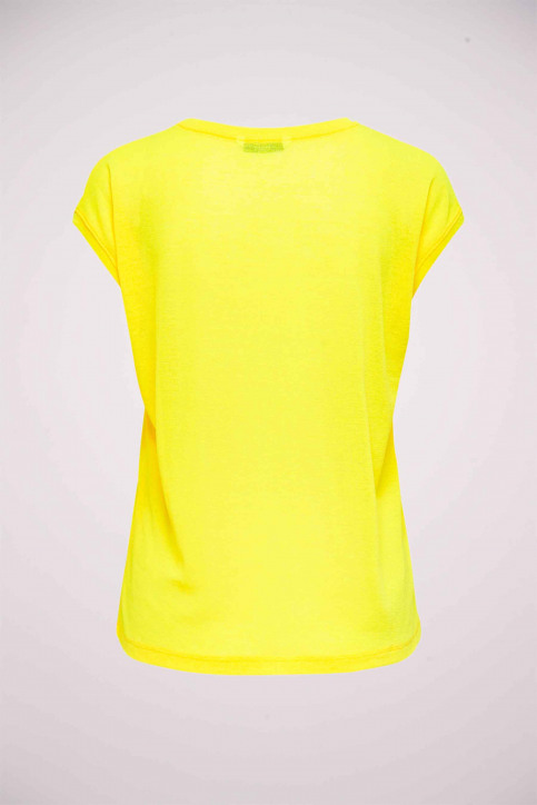 ONLY Tops uni manche courte jaune 15136069_NEON YELLOW img3