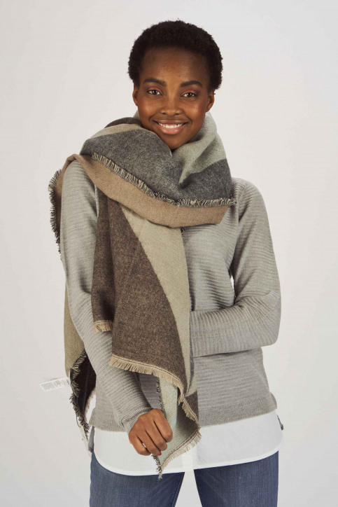 ONLY Wintersjaals zwart 15160439_BLACK TAUPE GRE img2
