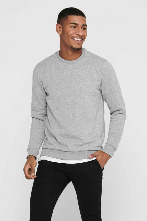ONLY & SONS Sweats col O gris 22018683_LIGHT GREY MELA img1