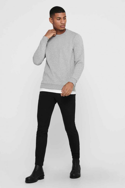 ONLY & SONS Sweats col O gris 22018683_LIGHT GREY MELA img2