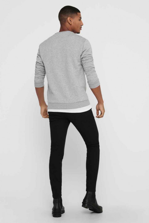 ONLY & SONS Sweats col O gris 22018683_LIGHT GREY MELA img3