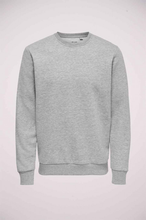 ONLY & SONS Sweats col O gris 22018683_LIGHT GREY MELA img5