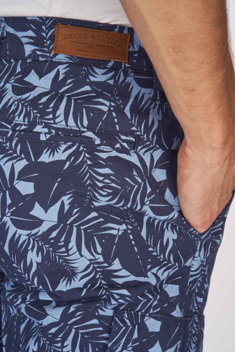 BRUCE & BUTLER Shorts bleu BRB191MT 002_SEA CAMEO LEAF img5