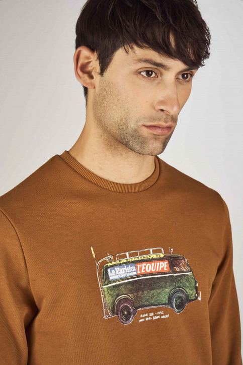 Cyclo Club Marcel Sweaters met ronde hals bruin CCM192MT 031_RUBBER img4