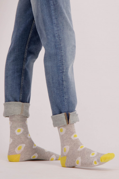 ACCESSORIES BY JACK & JONES Chaussettes gris JACHUGO SOCKS_LIGHT GREY MELA img1