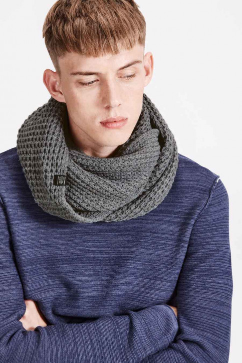 ACCESSORIES BY JACK & JONES Echarpes gris JACWAFFLE KNIT TUBE_GREY MELANGE img1