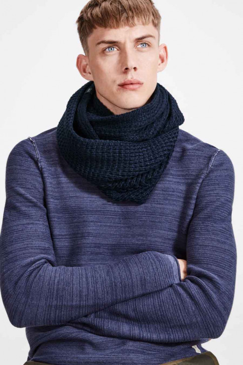 ACCESSORIES BY JACK & JONES Echarpes bleu JACWAFFLE KNIT TUBE_NAVY BLAZER img1