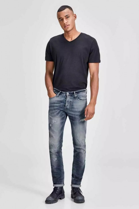 JACK & JONES JEANS INTELLIGENCE Jeans slim denim JJIGLENN JJPAGE_BL795BLUEDESTR img2