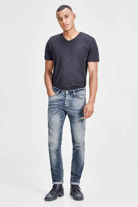 JACK & JONES JEANS INTELLIGENC Jeans slim denim JJIGLENN JJPAGE_BL795BLUEDESTR img4