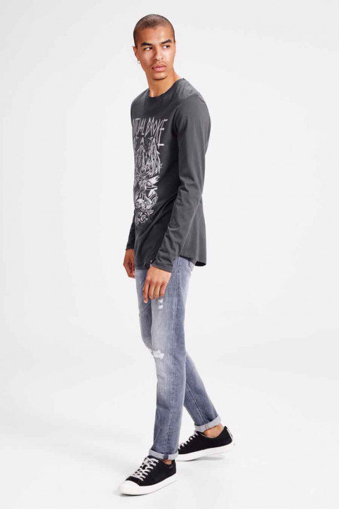ORIGINALS BY JACK & JONES T-shirts (korte mouwen) zwart JORSHINE TEE LS CREW_ASPHALT img5