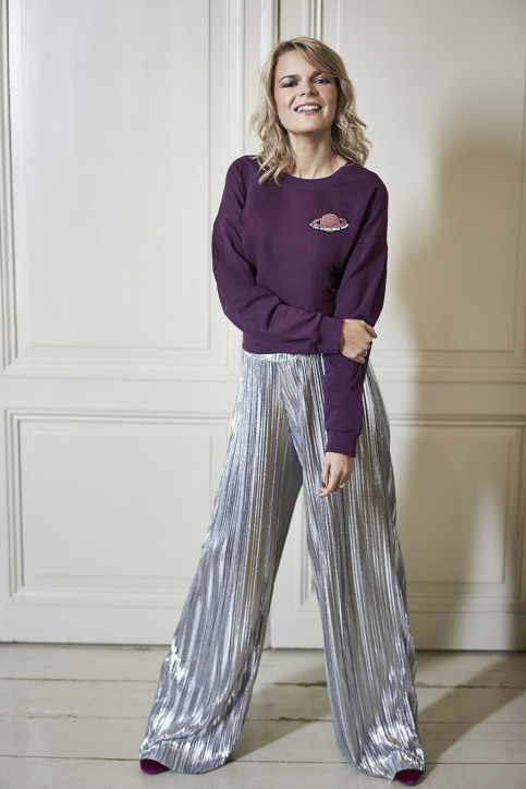Little Fortune by Yentl Sweaters met ronde hals bordeaux LIF TO THE MOON_WINTER BLOOM img1