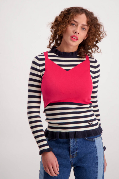 Maurice Truien met ronde hals multicolor MAU MARIAN JUMPER_NAVYOFF WHITE img1