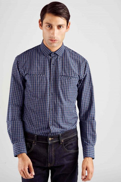 Le Fabuleux Marcel De Bruxelles Chemises (manches longues) bleu MDB182MT 014_NAVY CHECK img1