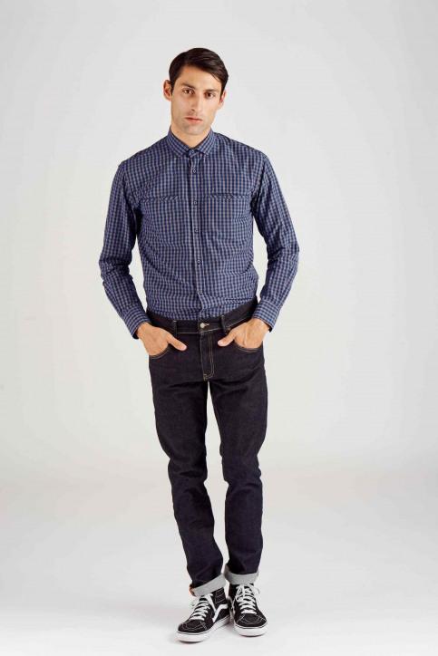 Le Fabuleux Marcel De Bruxelles Chemises (manches longues) bleu MDB182MT 014_NAVY CHECK img2