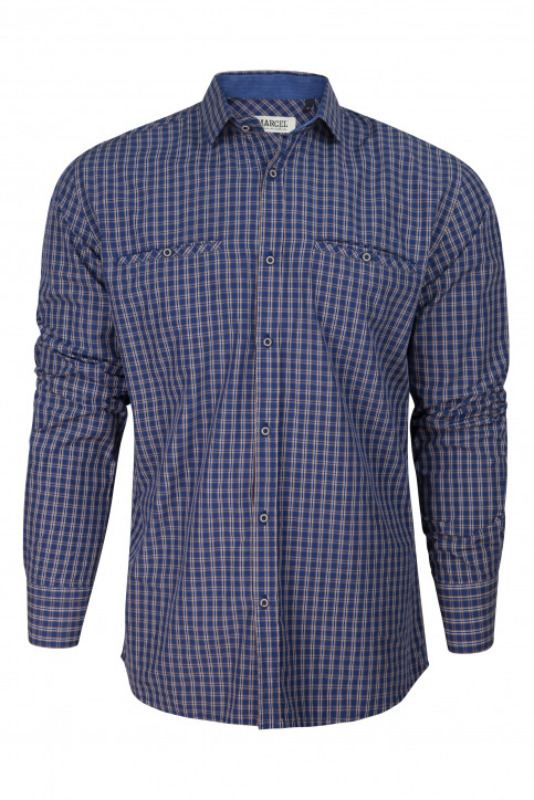 Hemden (lange mouwen) blauw MDB182MT 014_NAVY CHECK img6