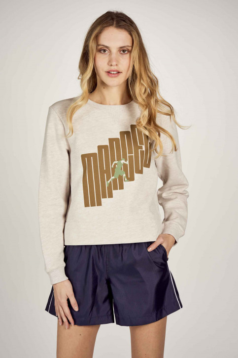 Le Fabuleux Marcel De Bruxelles Sweaters met ronde hals ecru MDB211WT 014_GREIGE MELEE img2