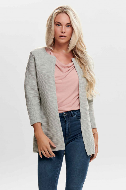 ONLY Gilets gris ONLLECO 78 LONG CARD_LIGHT GREY MEL img1