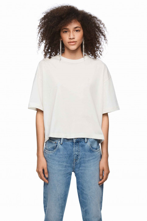 Pepe Jeans Tops uni manche courte blanc PL504331_800 WHITE img5
