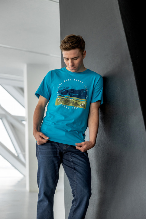 R.EV 1703 by Remco Evenepoel T-shirts (korte mouwen) blauw REV211MT 009_CARIBBEAN SEA img1