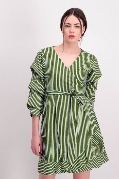 VILA Robes courtes vert VIPICANA WRAP DRESS_CHIVEWHITE STR img1