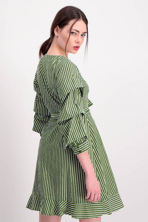 VILA Robes courtes vert VIPICANA WRAP DRESS_CHIVEWHITE STR img3