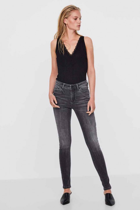 VERO MODA Jeans skinny grijs VMSEVEN NW SS PIPING_AM202BLACK img1