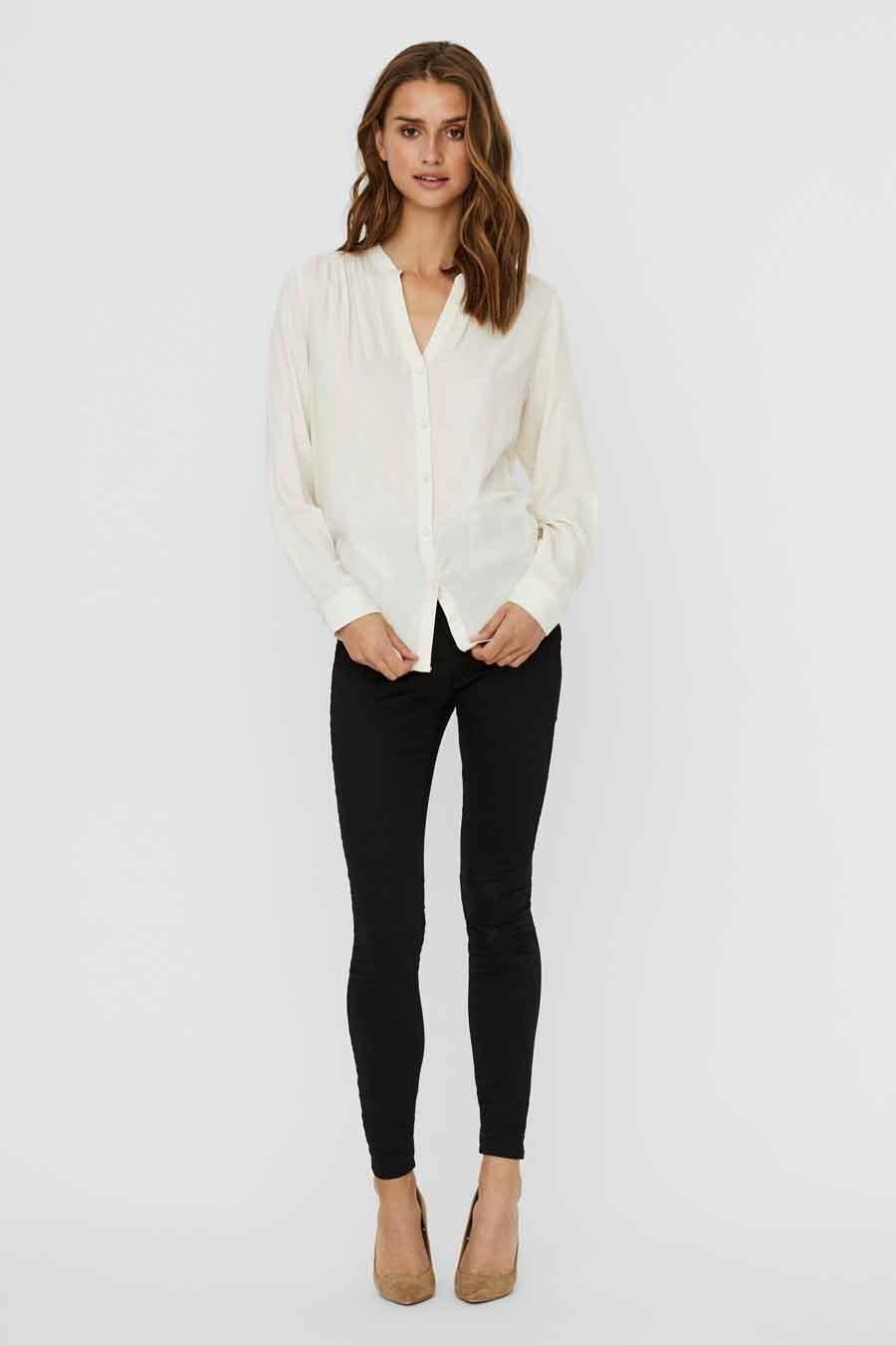 Vero Moda® Blouse lange mouwen, Beige, Dames, Maat: L/M/S/XS