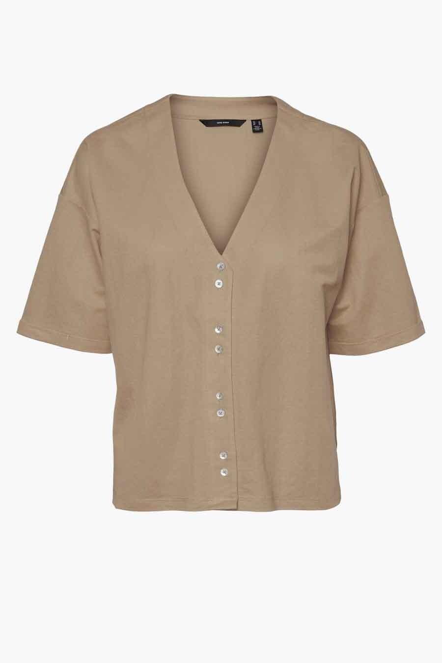 Vero Moda® Blouse korte mouwen, Ecru, Dames, Maat: L/M/S/XL