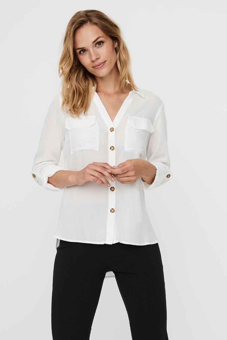 Vero Moda® Blouse lange mouwen, Wit, Dames, Maat: L/M/S/XL