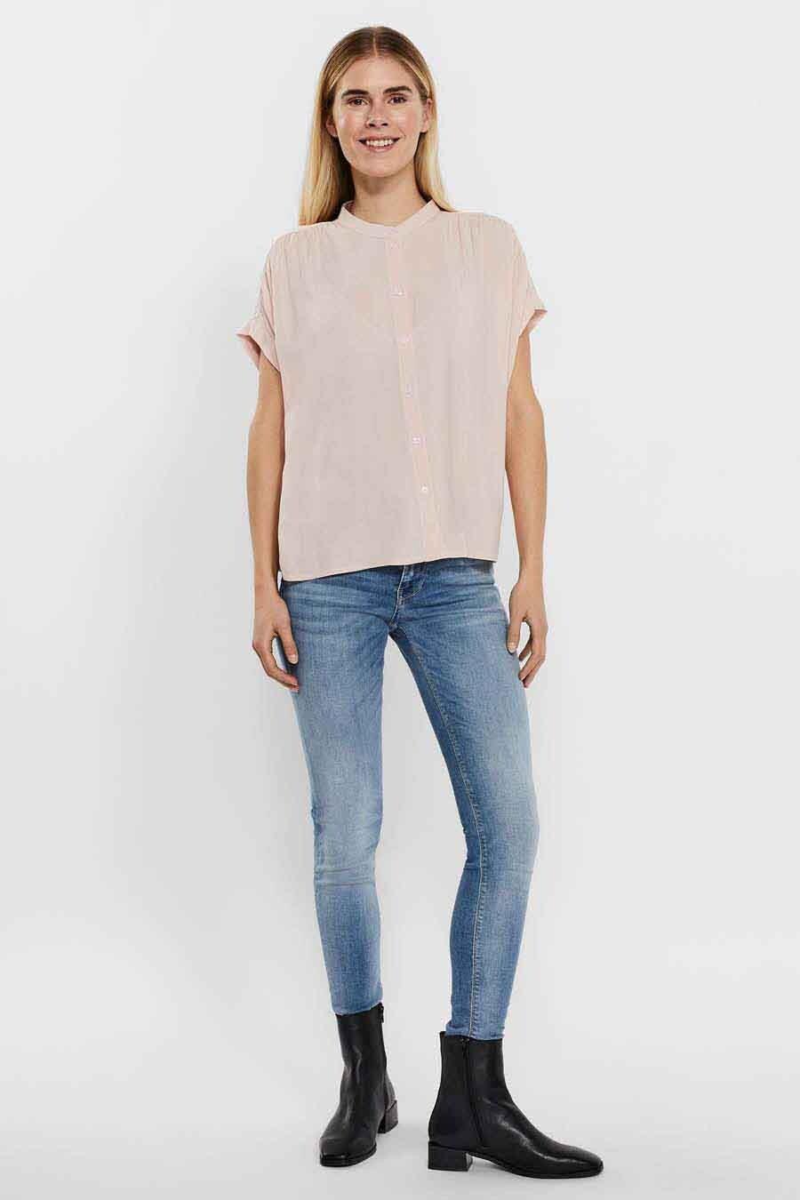 Vero Moda® Blouse korte mouwen, Roze, Dames, Maat: L