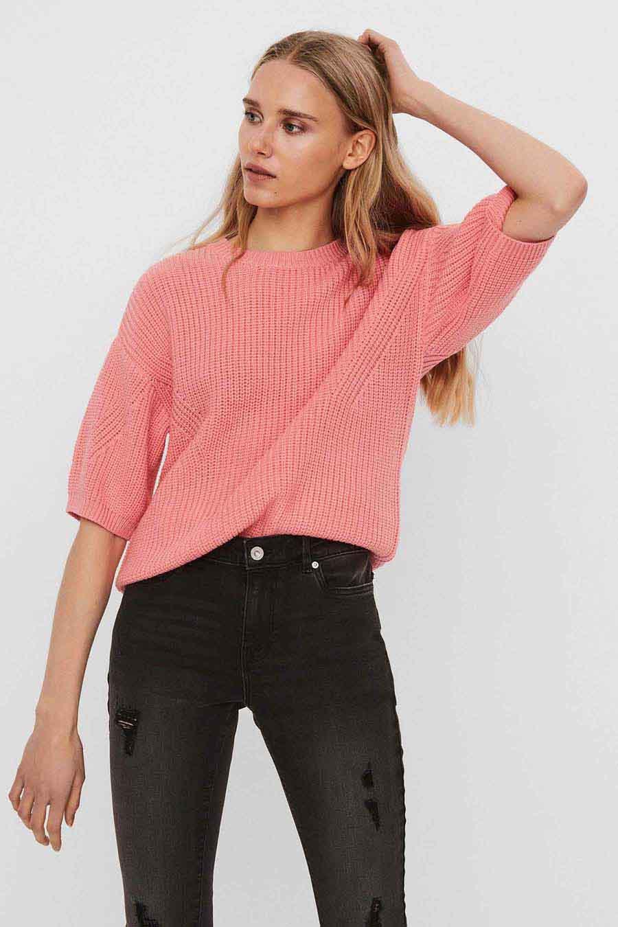 Vero Moda® Blouse korte mouwen, Roze, Dames, Maat: L/XL