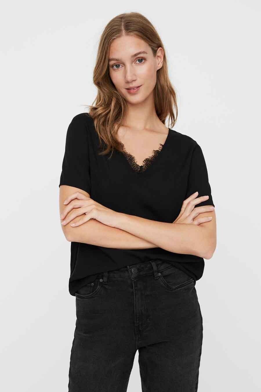 Vero Moda® Blouse korte mouwen, Zwart, Dames, Maat: XS/S/M