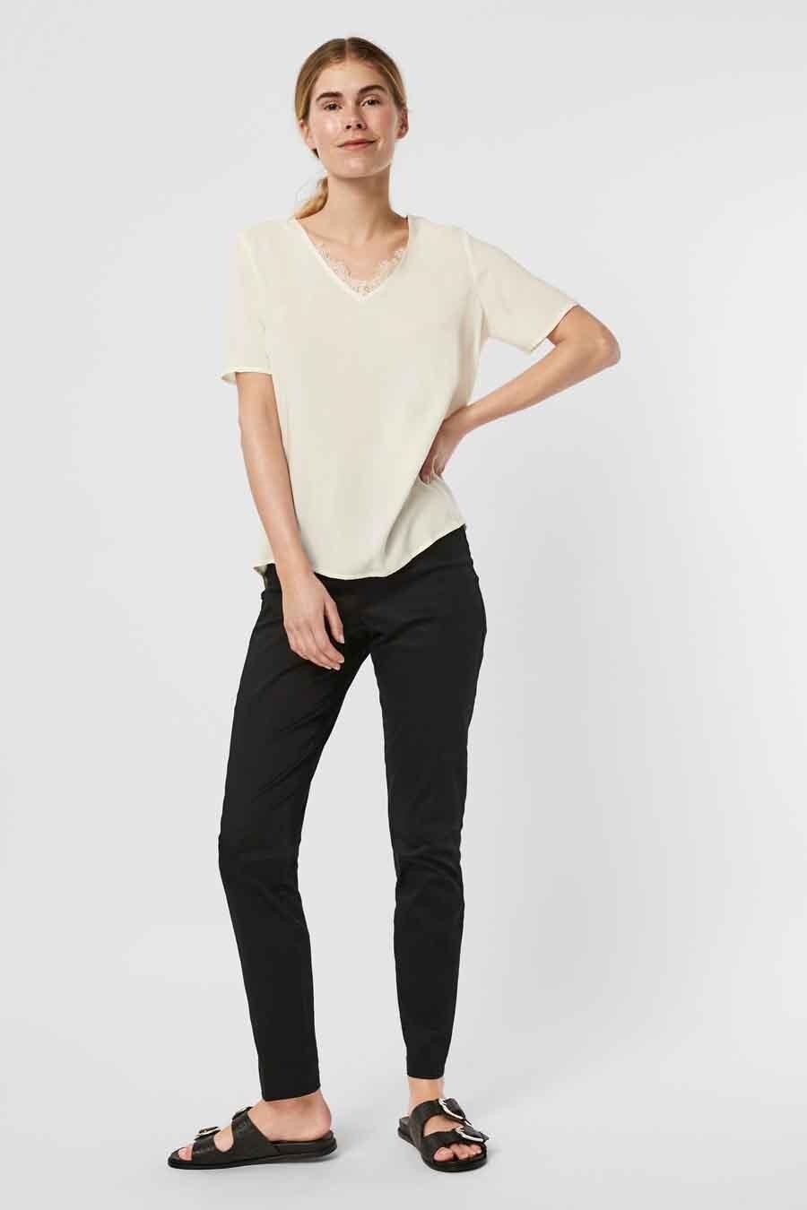 Vero Moda® Blouse korte mouwen, Wit, Dames, Maat: L/M/S/XL/XS