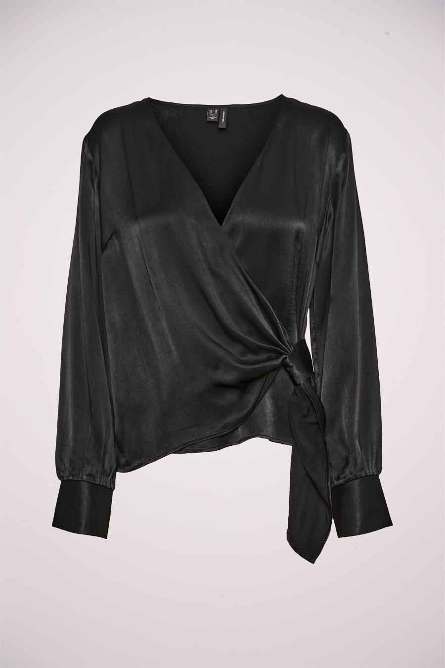 Vero Moda® Blouse lange mouwen, Zwart, Dames, Maat: M/S
