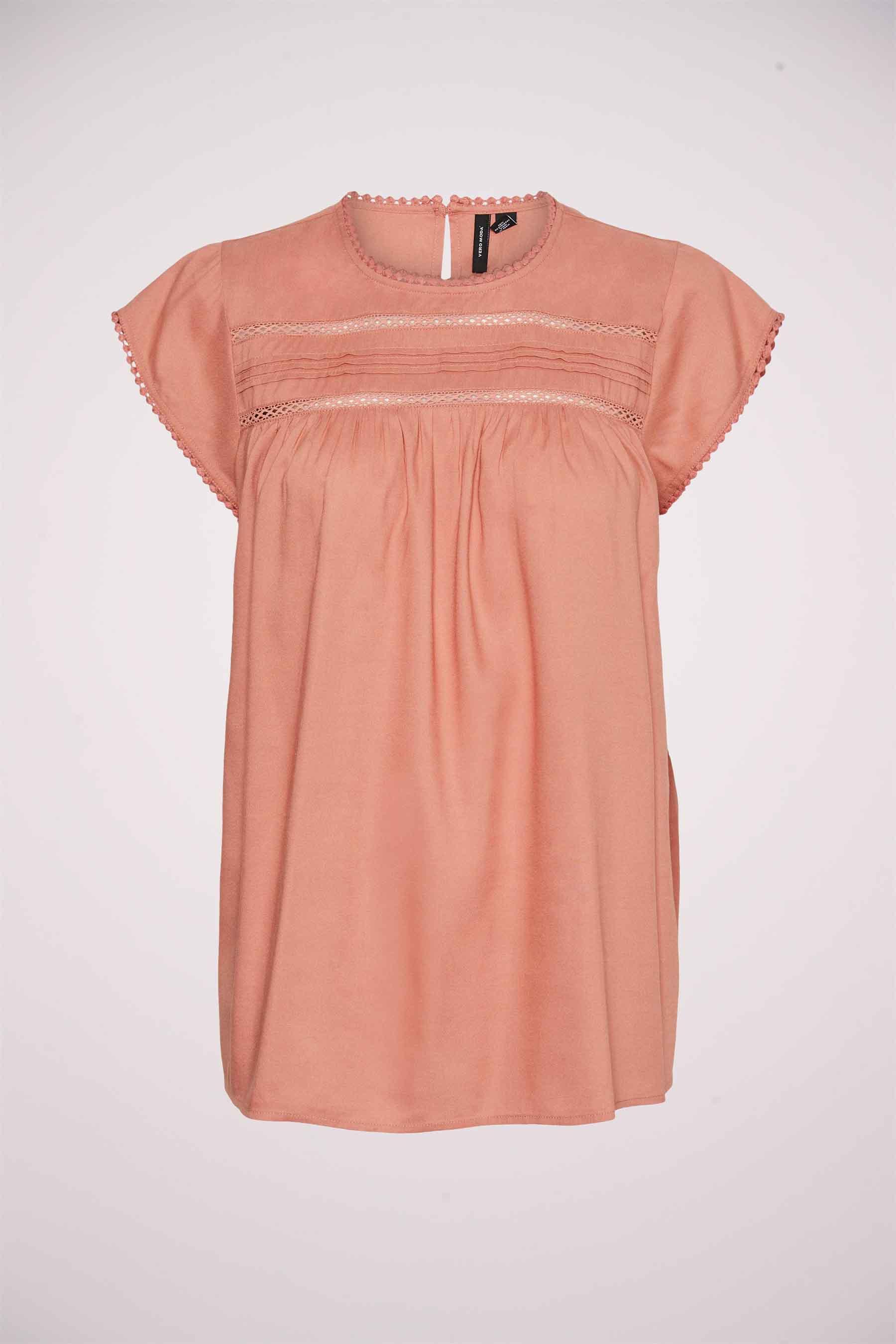 Vero Moda® Blouse korte mouwen, Roze, Dames, Maat: L/M/S/XS