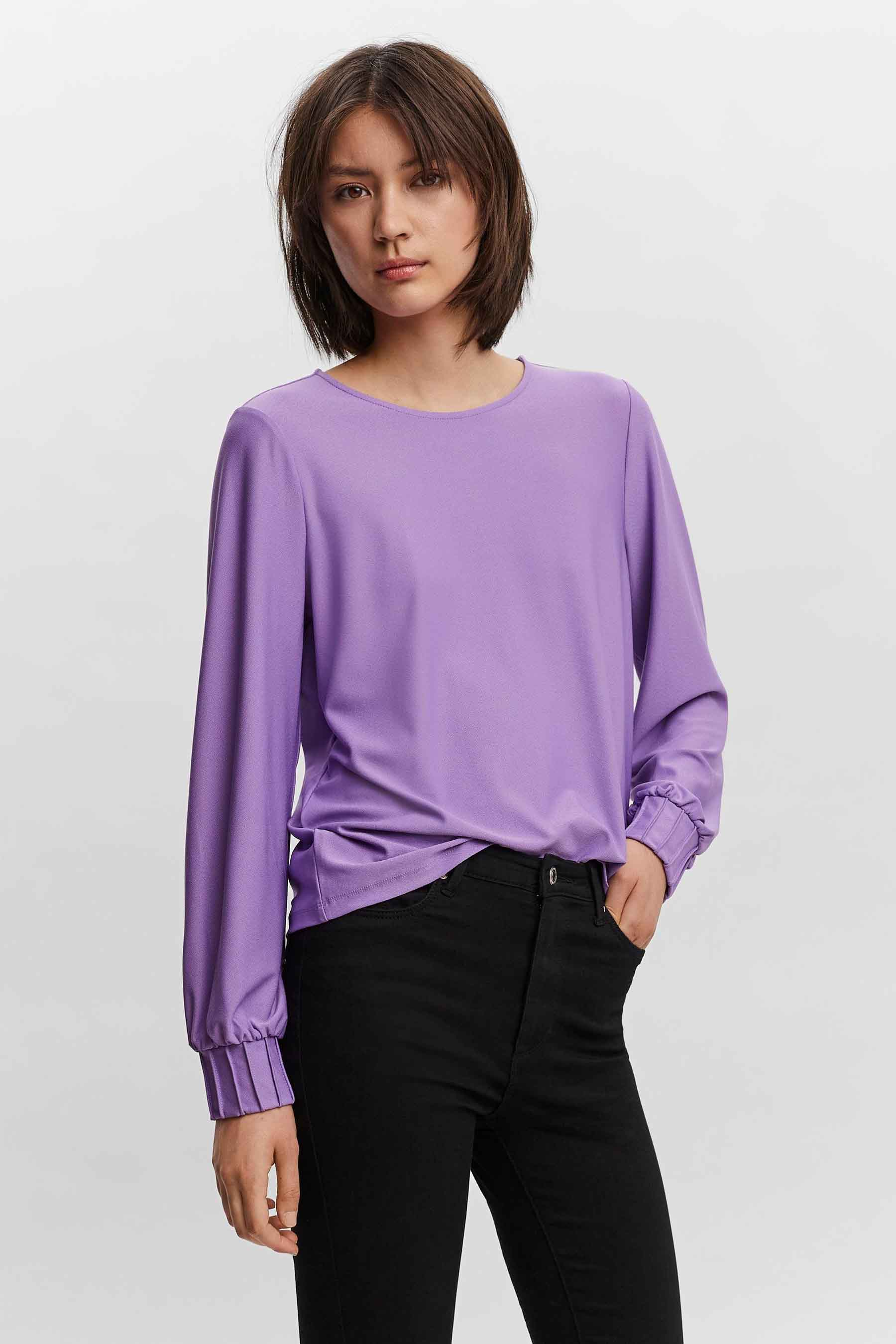 Vero Moda® Blouse lange mouwen, Paars, Dames, Maat: XS/S/M/L/XL