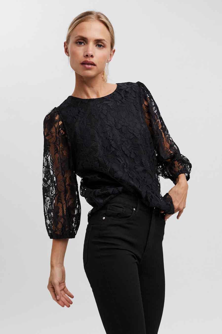 Vero Moda® Blouse lange mouwen, Zwart, Dames, Maat: XS/S/M/L